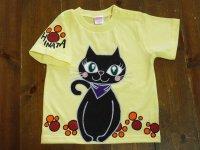 手描き半袖T「黒猫ぴんTシャツ」