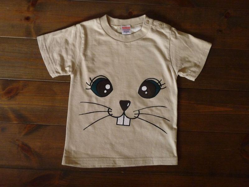 画像1: 手描き半袖T「ラビットフェイスTシャツ」